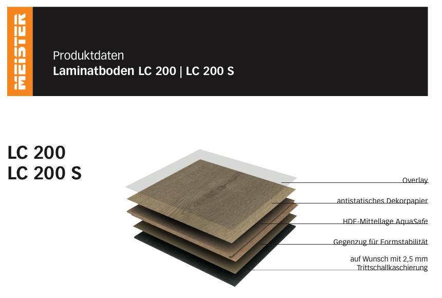 Screenshot Meister Laminat LC 200 Produktdaten